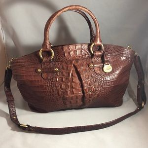 Brahmin reddish brown leather top dome satchel
